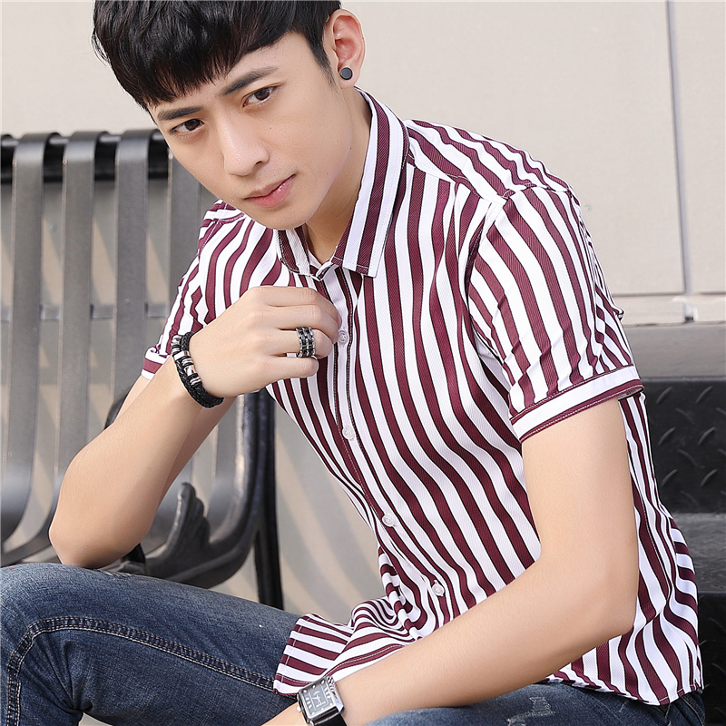 2019 Summer New Men 39 s Popular Short sleeved Camisa Masculina Youth Casual Fashion Tide Slim Korean Version Striped Shirt Men in Casual Shirts from Men 39 s Clothing