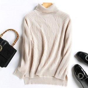 Image 4 - באיכות גבוהה סתיו חורף נשים קשמיר צמר גולף סוודר סוודרי חם רך רופף מזדמן בציר אופנה פראי מוצק