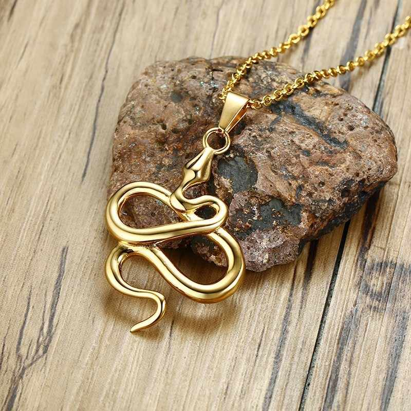 Punk mężczyzna naszyjnik cewka kobra wąż Shap wisiorek ze stali nierdzewnej w kolorze złotym zwierząt mężczyzna Choker Hop biżuteria