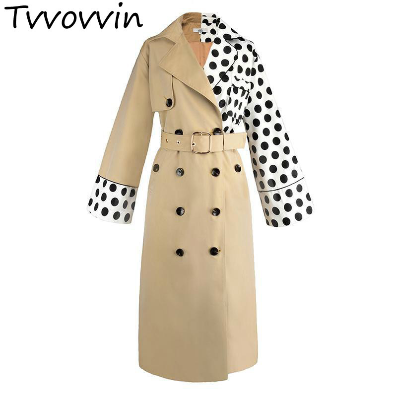 TVVOVVIN Women   Trench   Patchwork Asymmetry Windbreaker Sleeve Double Breasted Lace Up Slim Thin Long Coat Autumn E138