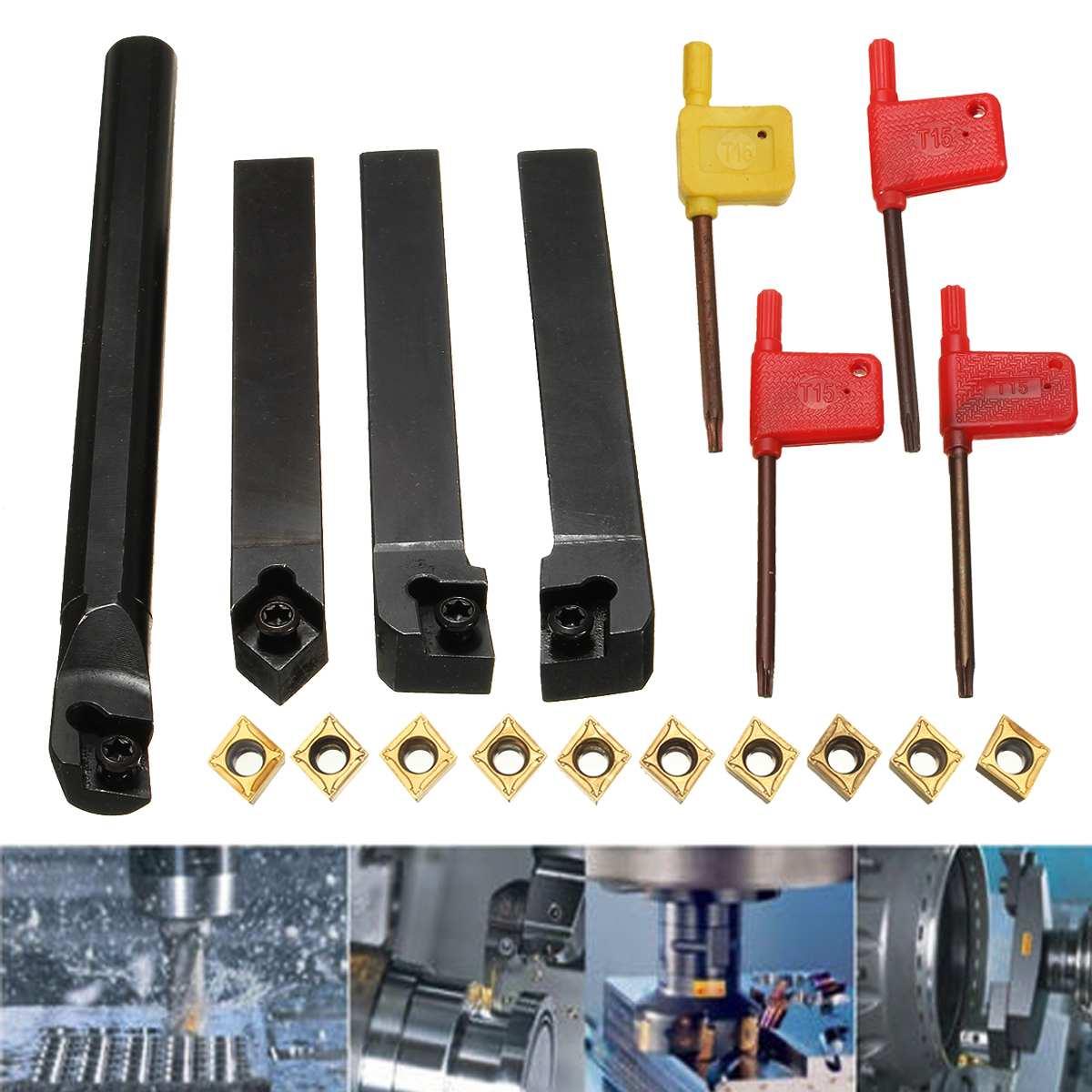 10pcs CCMT09T304 Carbide Insert+4pcs Lathe Turning Tool Holder Set+4pcs Wrench For Lathe Turning Tool Machine Tool
