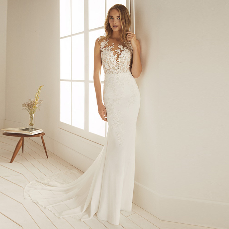 Eightale Mermaid Wedding Dress Beach 2019 O-Neck Appliques Boho Bridal Gowns Sheer Illusion Back Chiffon Wedding Party Dress
