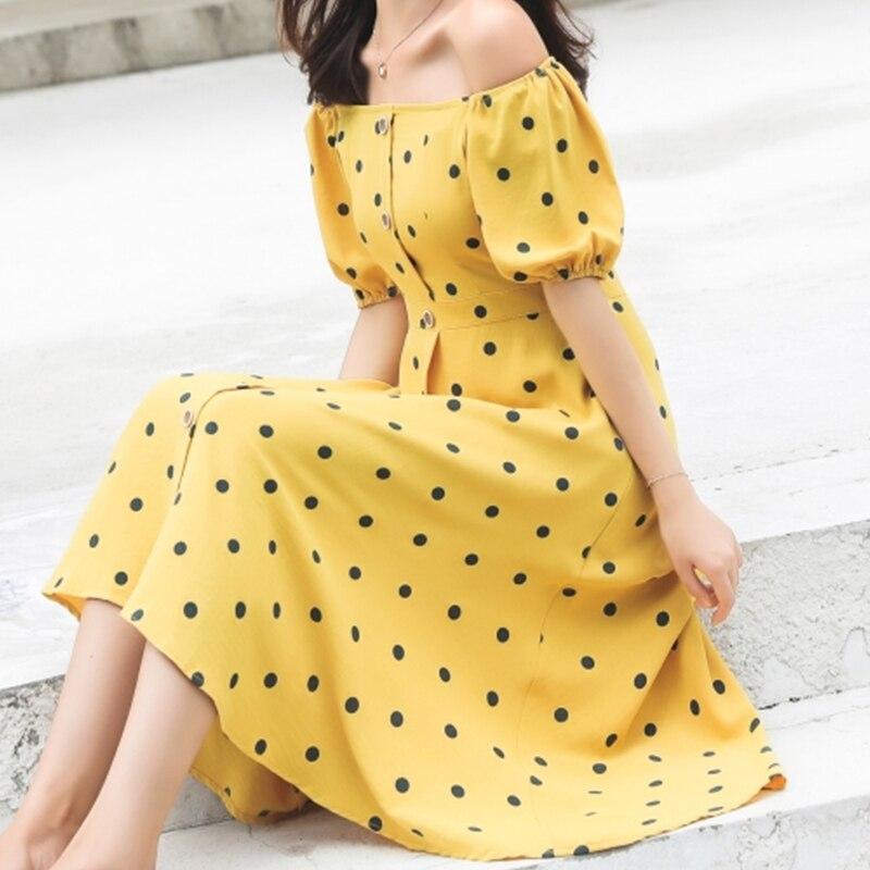 a1326c07b3f175 Flectit Französisch Frauen 80 s Vintage Polka Dot Kleid Taste Up Puff Hülse  Quadrat Kragen Hohe Taille Lange Kleid Retro urlaub Kleid *