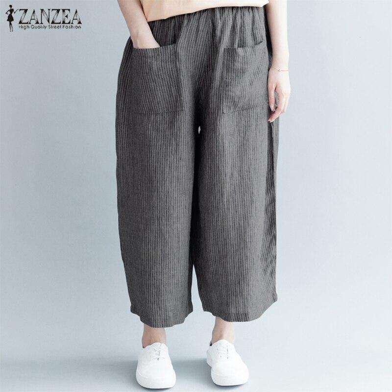 2019 ZANZEA Striped Trousers Women   Wide     Leg     Pants   Female Casual Elastic Waist   Pants   Pockets Lady Cotton Pantalon Oversized 5XL