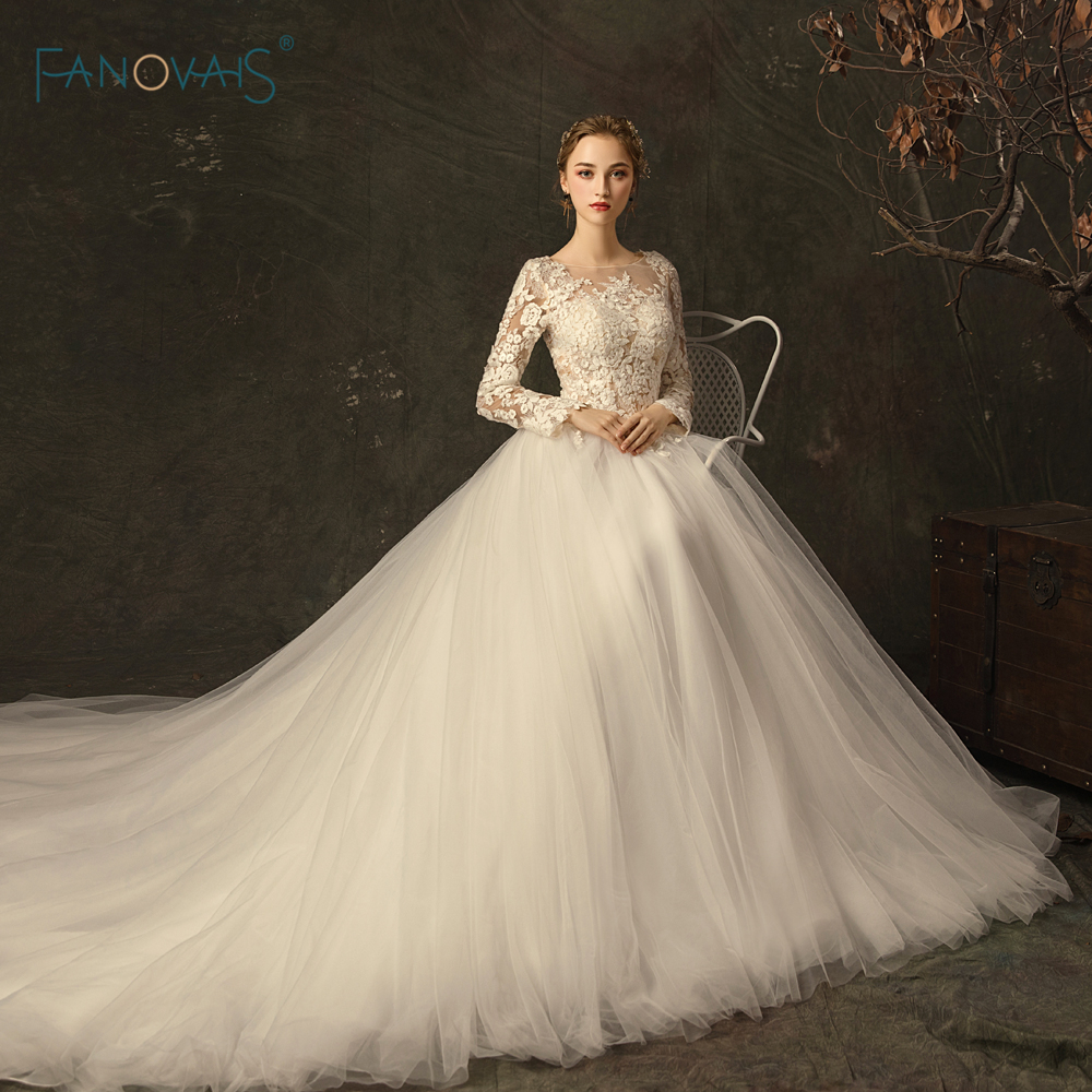 Wedding Gown With Lace: Elegant Wedding Dresses Long Sleeves Scoop Princess Ivory