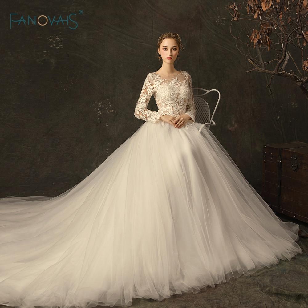 Elegant Wedding Dresses Long Sleeves Scoop Princess Ivory