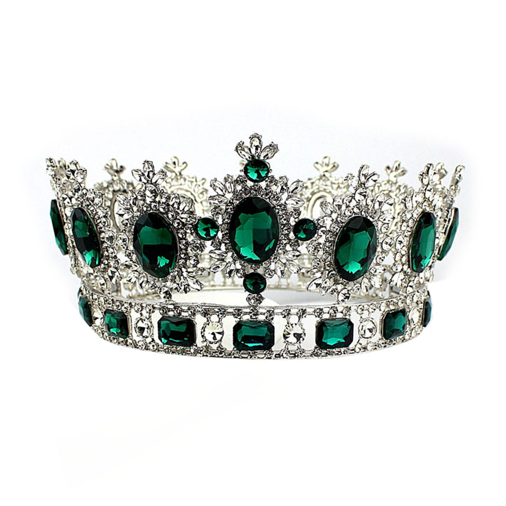New Bridal Wedding Green Crystal Rhinestone Decorated Bride Crown Hair Barrettes Hairband Crown Headwear Hair Accessiories