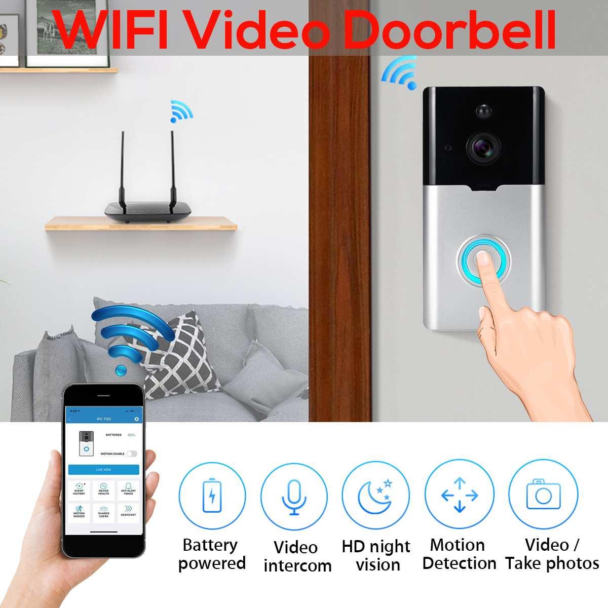 Smart WiFi Video Doorbell Wireless 1080P HD Camera 2.4G Night Vison Visit Security Door Bell for Alarm BurglarizingSmart WiFi Video Doorbell Wireless 1080P HD Camera 2.4G Night Vison Visit Security Door Bell for Alarm Burglarizing