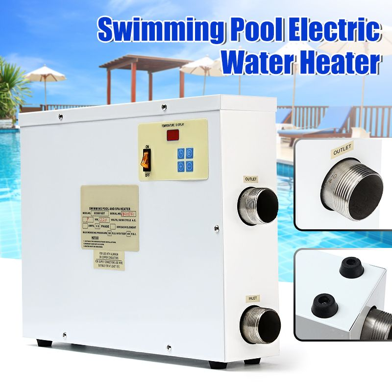 220V Water Electric Heater 9000W Digital Thermostat Swimming Pool & SPA Hot Tub Pool 9KW Heating Equipment  For Winter Swimming
