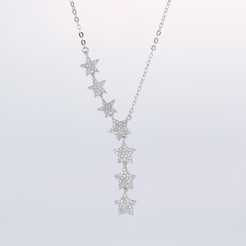 Bohemia Rhinestone Pentagram Hexagram Star Pendant Necklaces Long Glistening Multiple Stars Necklaces Sweater Chain