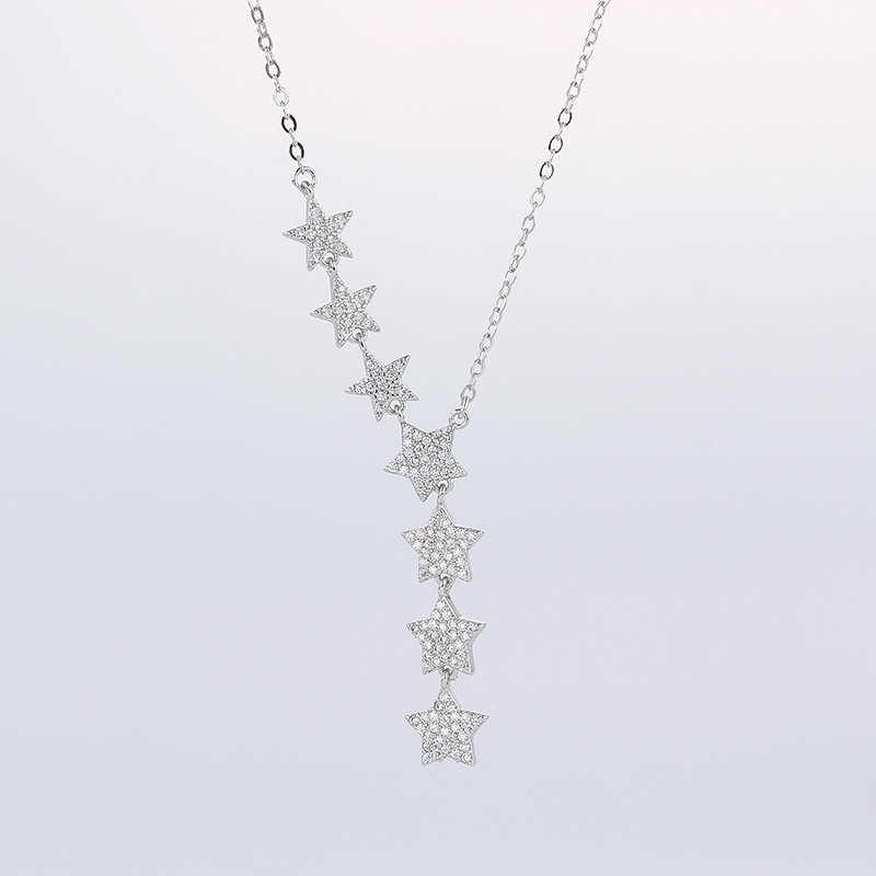 Bohemia Rhinestone Pentagram Hexagram Star Pendant Necklaces Long Glistening Multiple Stars Necklaces Sweater chain