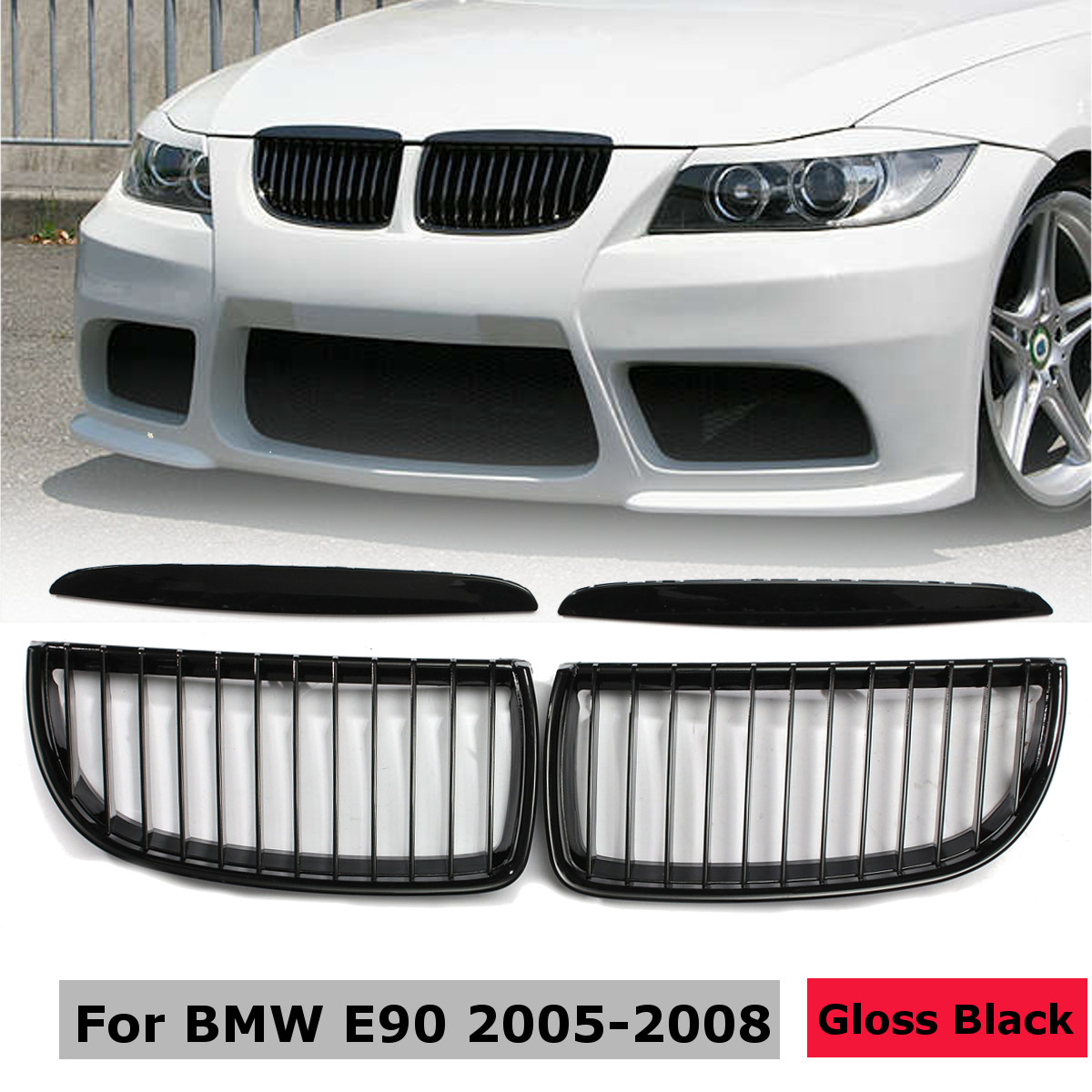 2Pcs Car Front Left Right Center Kidney Grille Grill Gloss Black for BMW E90 3 Series