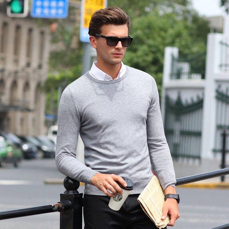 6 cores Homens Pullover O-pescoço Camisola Puxar Homme Hombre Sueter de Malha Cor Pura Camisa de Manga Longa Blusas Casuais Roupas de Homem
