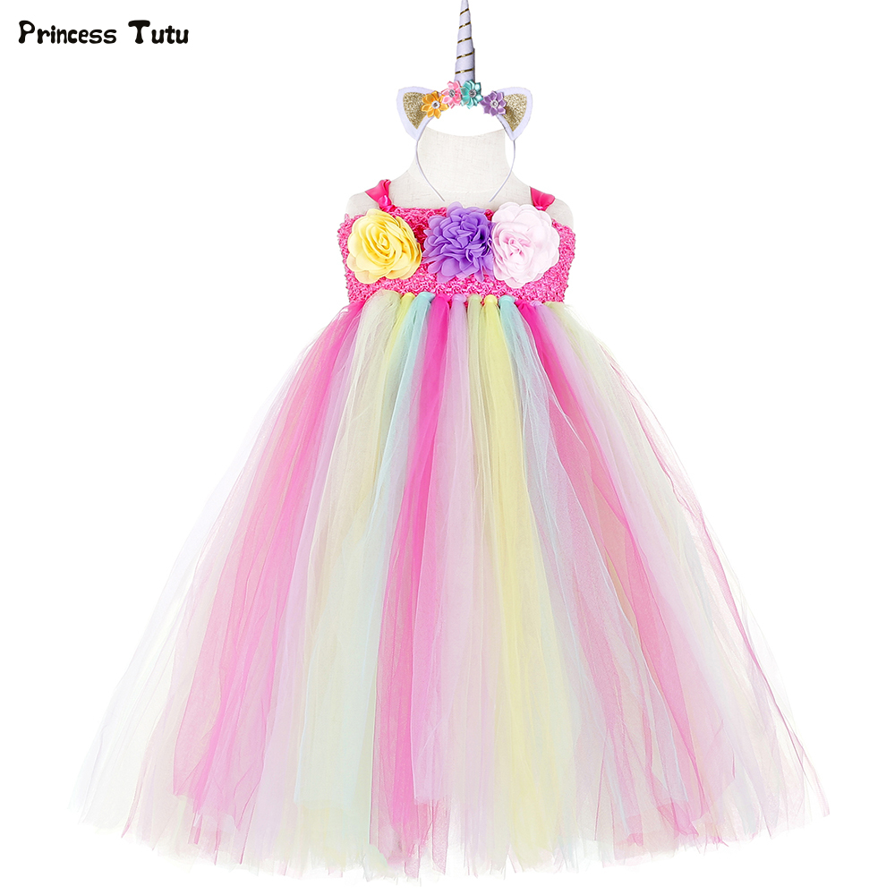 28ac091a1b5 Cute Unicorn Tutu Dress Pastel Rainbow Tulle Flower Girl Dress Kids Easter  Birthday Party Dress Girls