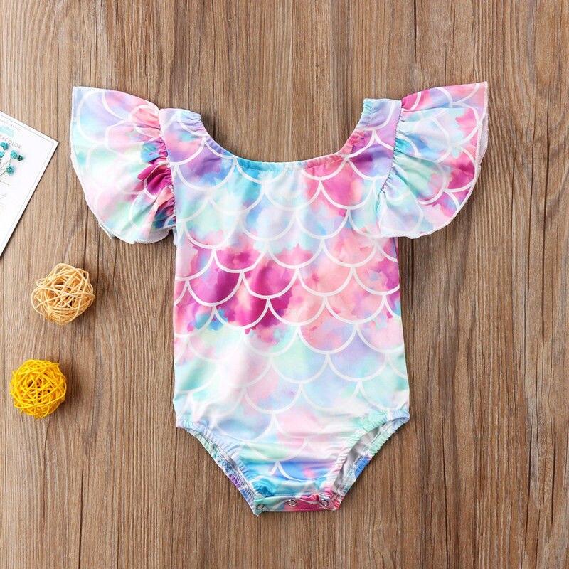 Moda Casual Slim estampado lindo chico volante para niña pequeña sirena traje de baño conjunto de Bikini femenino ropa de verano