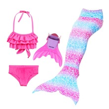 лучшая цена Mermaid Tails For Swimming Costume Bathing Suit Girls Children Little Mermaid Tail Swimmable Cosplay Princess Dress Fairy Tail