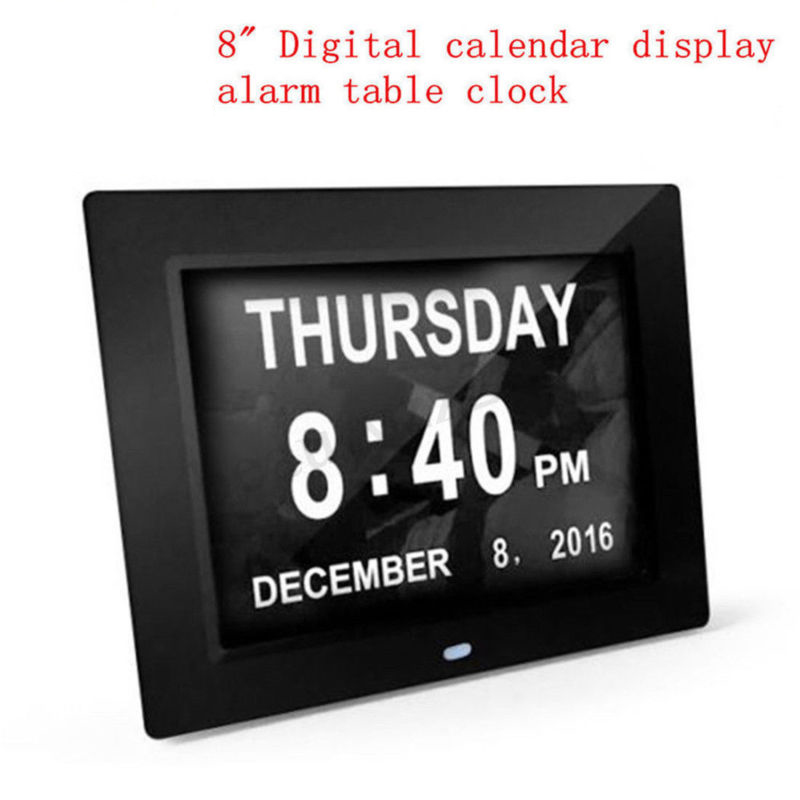 8 LED Large Time Wall Clock With Digital Day Week Month Year Calendar Hot Sale8 LED Large Time Wall Clock With Digital Day Week Month Year Calendar Hot Sale
