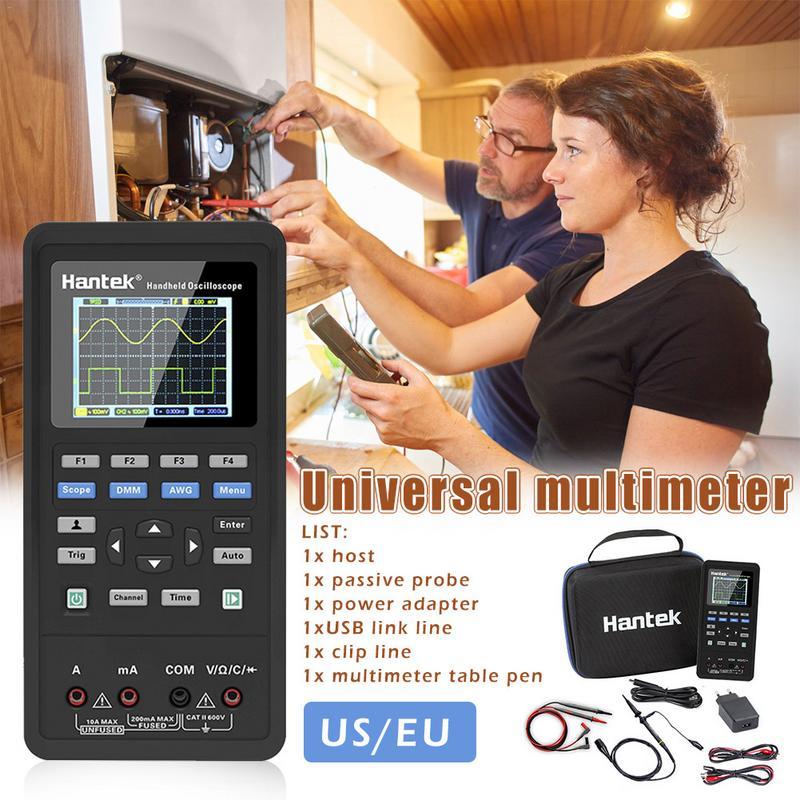 Hantek Osciloscópio 3in1 Digital + Canais Waveform Generator + Multímetro Portátil USB 2 40 mhz 70 mhz Teste do Display LCD ferramentas metros