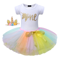 Colorful Unicorn Baby Girl Dress Newborn Baby Clothes 3 Piece 1st Birthday Party Dresses With Headband Kids Cotton Summer Clothe