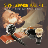 5PCS Straight Razor Kit Shaving Brush Set Shaving Razor Brush Mug Soap Razor Strap Shaving Kit for Men Shaving Kit