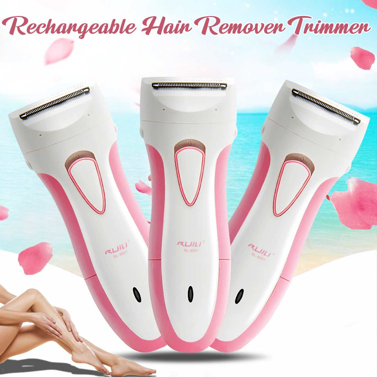 Electric Rechargeable Lady Shaver Women Hair Remover Wet Dry Trimmer Arm Legs Wet Dry Epilator for Bikini Body Underar Painless