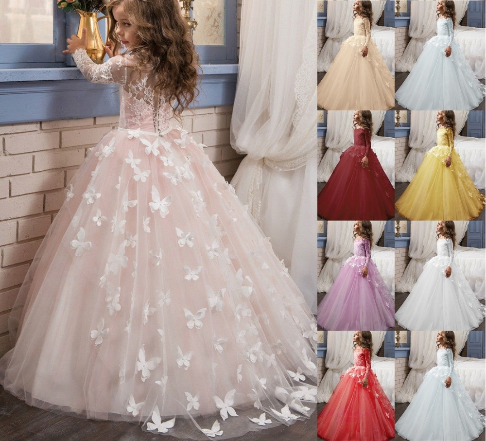 Elegant Lace Girl's Tulle Ball Gown Flower Girl Dresses With Butterfly Long Sleeve For Wedding TUTU Cute Princess Kids Gowns