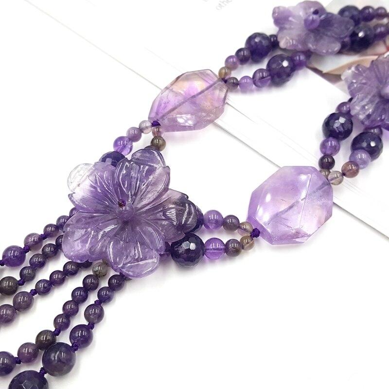 Lii Ji kamień naturalny Ametrine ametystowe kwiaty z Jade przełącz zapięcie naszyjnik dla kobiet moda biżuteria w Naszyjniki od Biżuteria i akcesoria na  Grupa 3