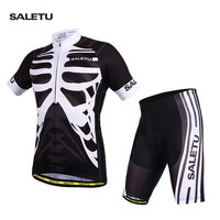 Skeleton Jersey Set Summer Cycle Clothing Short Sleeve Suit Breathable Quick drying Sportswear Gel Pad Bike T shirt MTB Clothes
