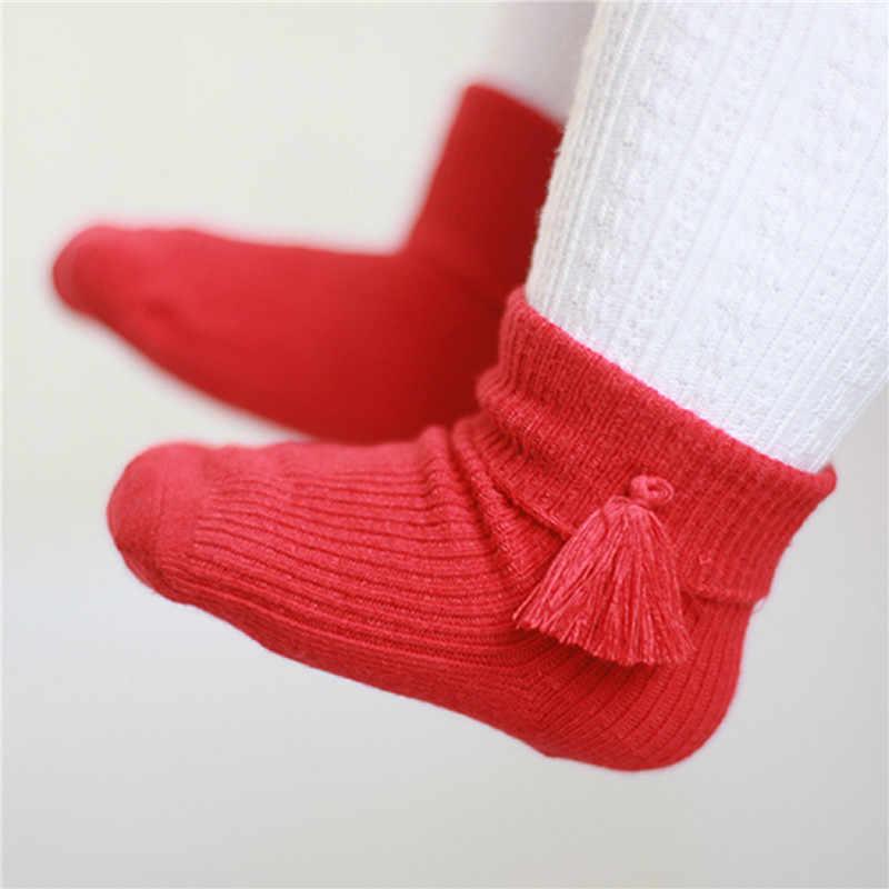 CANIS/носки для малышей теплые зимние носки с кисточками для новорожденных девочек короткие нескользящие носки принцессы для маленьких девочек