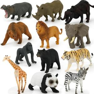 Image 1 - 12Pcs Simulated Wild Animals Model Toy Doll Lion Zebra Panda Orangutan Giraffe Rhinoceros Tiger PVC Action Figure Hot Set Toys