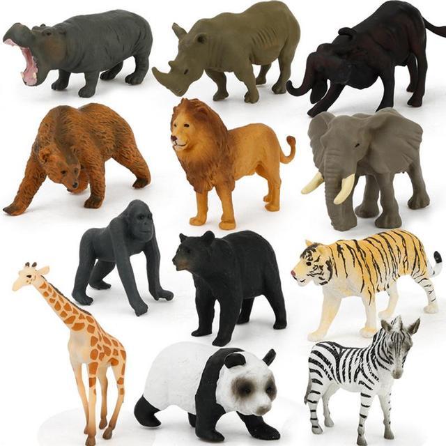 12Pcs Simulated Wild Animals Model Toy Doll Lion Zebra Panda Orangutan Giraffe Rhinoceros Tiger PVC Action Figure Hot Set Toys