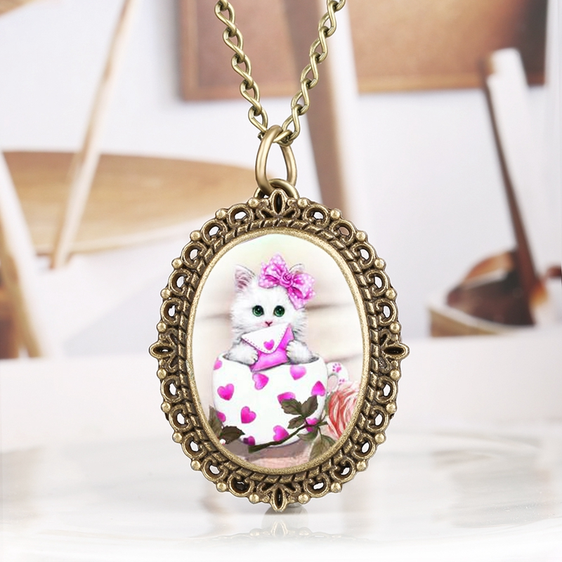 Oval Shape Pet Cat Necklace Little Cute Kitty Pendant Quartz Pocket Watch Jewelry Pendants Chain Gifts For Kid Girls Children