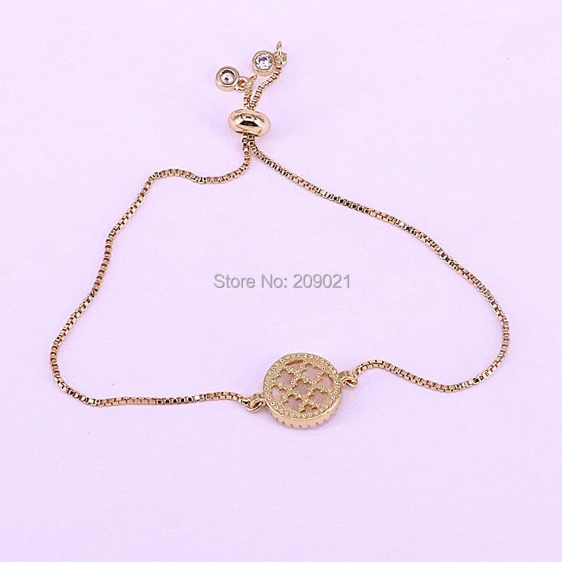 12 pièces argent/or couleur ronde Micro Pave cubique zircone Shell 26 lettre charme connecteur Bracelets-in Bracelets ficelle et chaîne from Bijoux et Accessoires    3