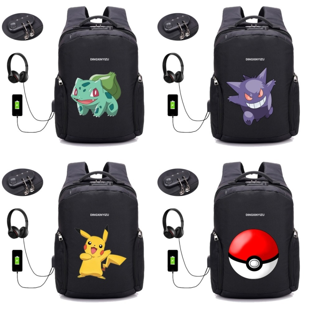 Anime Pikachu EEVEE sac à dos hommes sac à dos USB Charge ordinateur sacs à dos Anti-vol étanche étudiant livre sacs 22 style