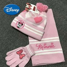 Disney Kids Baby Girl Soft Cotton Gloves Scarf And Hat Comfortable Set For Boys Girls With Different Cartoons