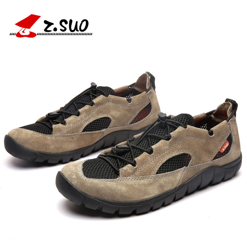 ZSUO Brand Summer Breathable Men's Sandals Shoes Fashion High Quality Elastic Laces Genuine Leather Summer Shoes For Man-in Men's Casual Shoes from Shoes    1