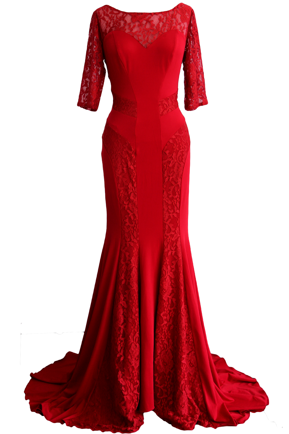 MACloth Women Mermaid Half Sleeve Lace Mother Of Bride Dress Formal Evening Gown 160283