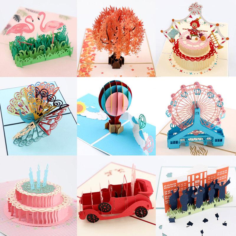 3D Pop Up Cards Valentine Lover Birthday Anniversary Greeting Envelope
