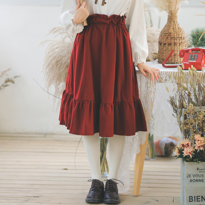 Korean Sweet Style School Girl Elastic High Waisted Ruffle Skirt For Spring & Autumn