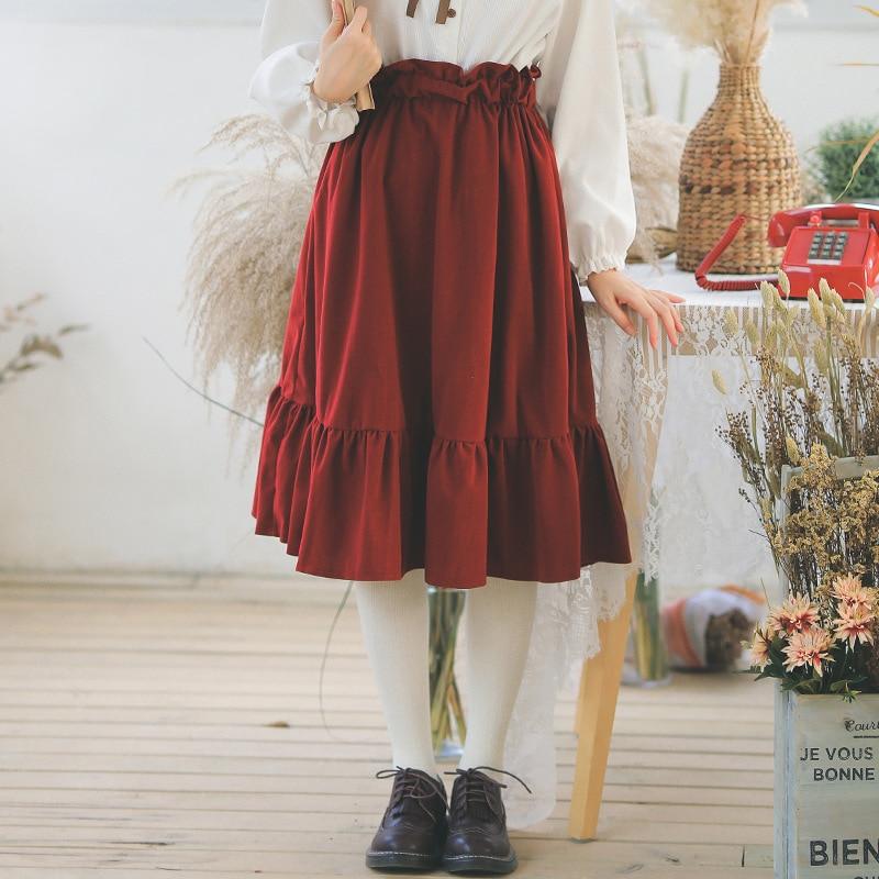 Korean Sweet Style School Girl Elastic High Waisted Ruffle Skirt For Spring & Autumn