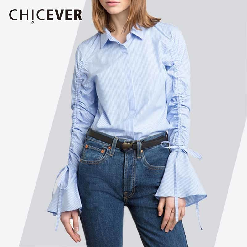 CHICEVER Striped Summer Women's Shirts Blouse Top Flare Sleeve Pleated Lace Up Plus Size Casual Shirt Top Clothes Fashion New