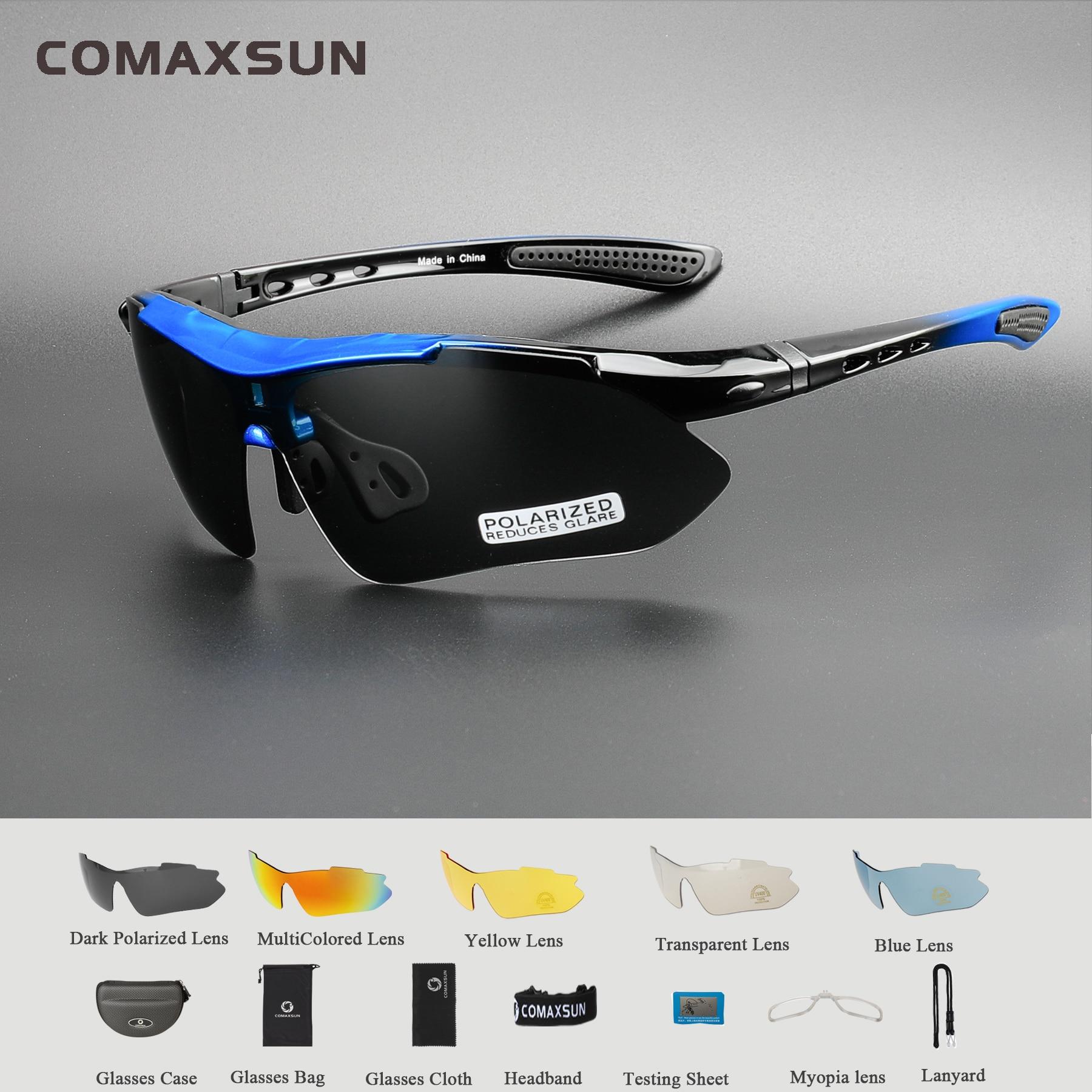 Comaxsun profissional polarizado óculos de ciclismo óculos de bicicleta esportes ao ar livre óculos de sol uv 400 com 5 lente tr90 5 cor