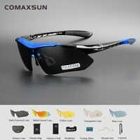 COMAXSUN profesjonalne spolaryzowane okulary rowerowe gogle sportowe rowerowe okulary przeciwsłoneczne UV 400 z 5 soczewkami TR90 5 kolorów