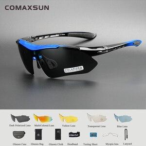 Image 1 - COMAXSUN profesyonel polarize bisiklet gözlük bisiklet gözlük doğa sporları bisiklet güneş gözlüğü UV 400 5 Lens ile TR90 2 tarzı