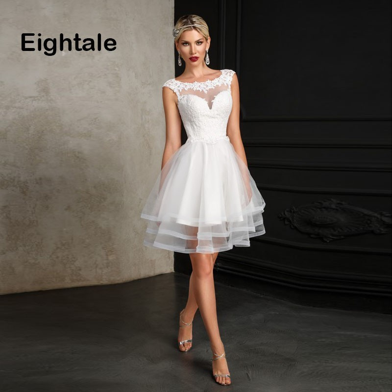 Eightale Short Wedding Dress O Neck Appliques A Line Bride Dress Princess Backless Lace Wedding Gowns Vestidos De Novia 2019