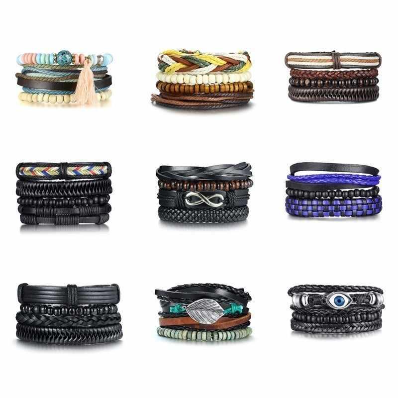 Vnox 4Pcs/ Set Braided Leather Bracelets for Men Women Vintage Wooden Beaded Wrap Bracelet Wood Beads Bangle Size Adjustable
