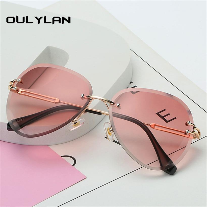 Oulylan Rimless Sunglasses Women Brand Designer Sun Glasses Gradient Shades Cutting Lens Ladies Frameless Metal Eyeglasses UV400 6