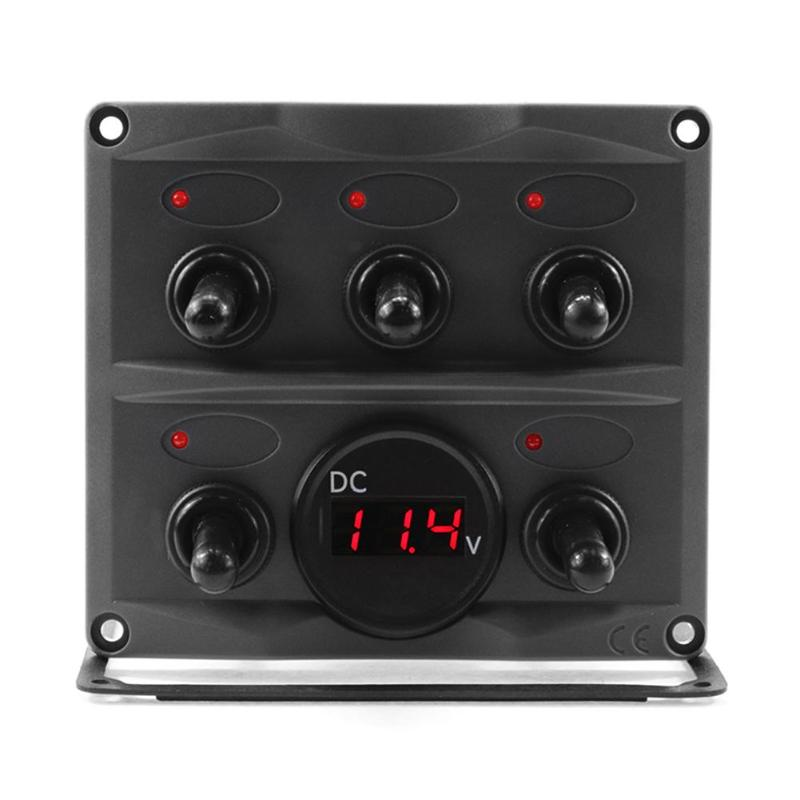 2.5-30V DC 15A 10A 12V 24V Waterproof 5 Gang LED Toggle Switch Panel With Voltmeter For Car Boat Truck Car Accessories
