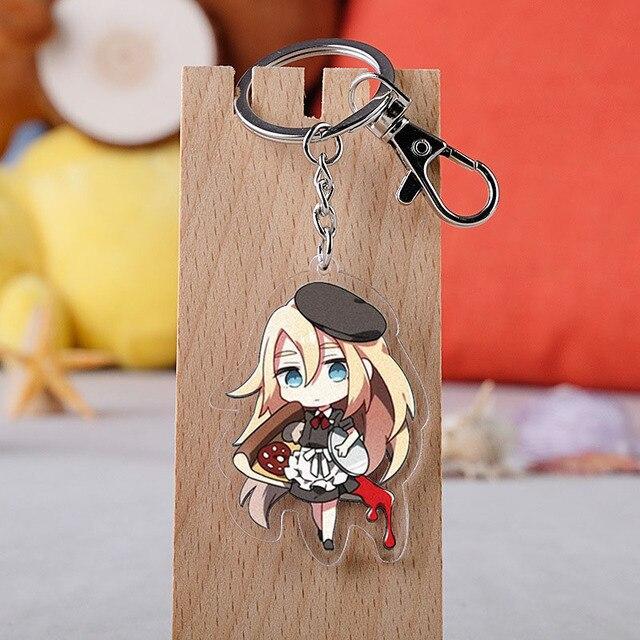 Anime anges de la mort porte-clés bande dessinée Satsuriku No Tenshi Foster Isaac Rachel acrylique voiture porte-clés chaîne pendentifs porte-clés