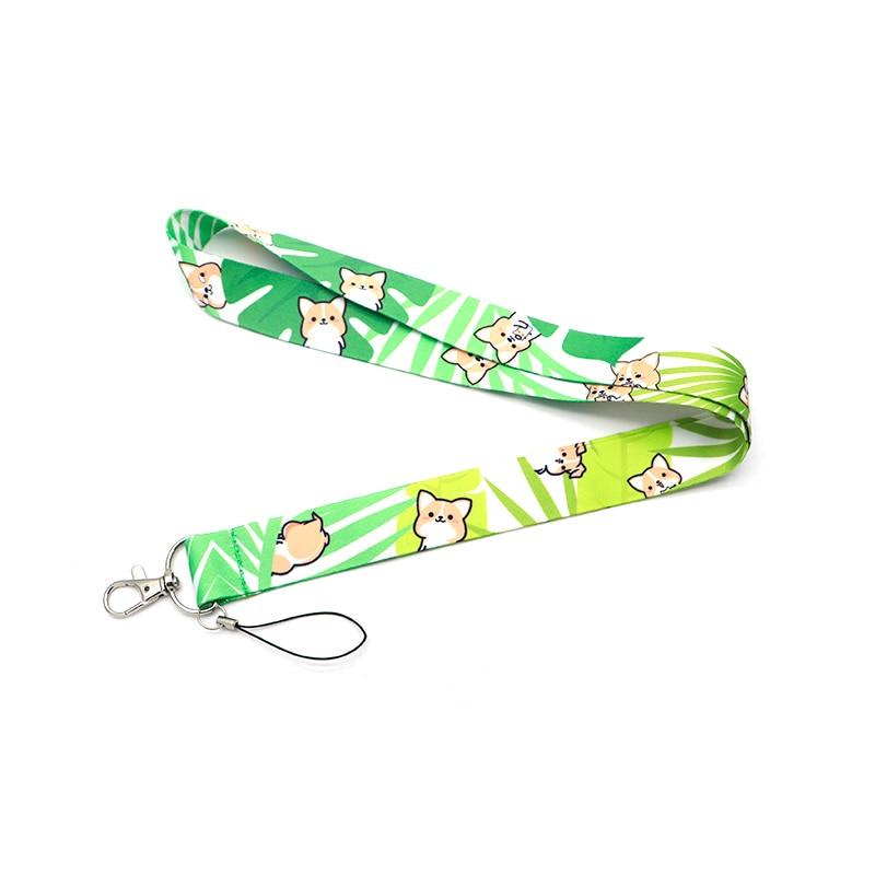 Cartoon Corgi Dog Ribbon Lanyard For Keychain ID Card Pass Mobile Phone Badge Holder Hang Rope Lariat Lanyard Key Holder Q911